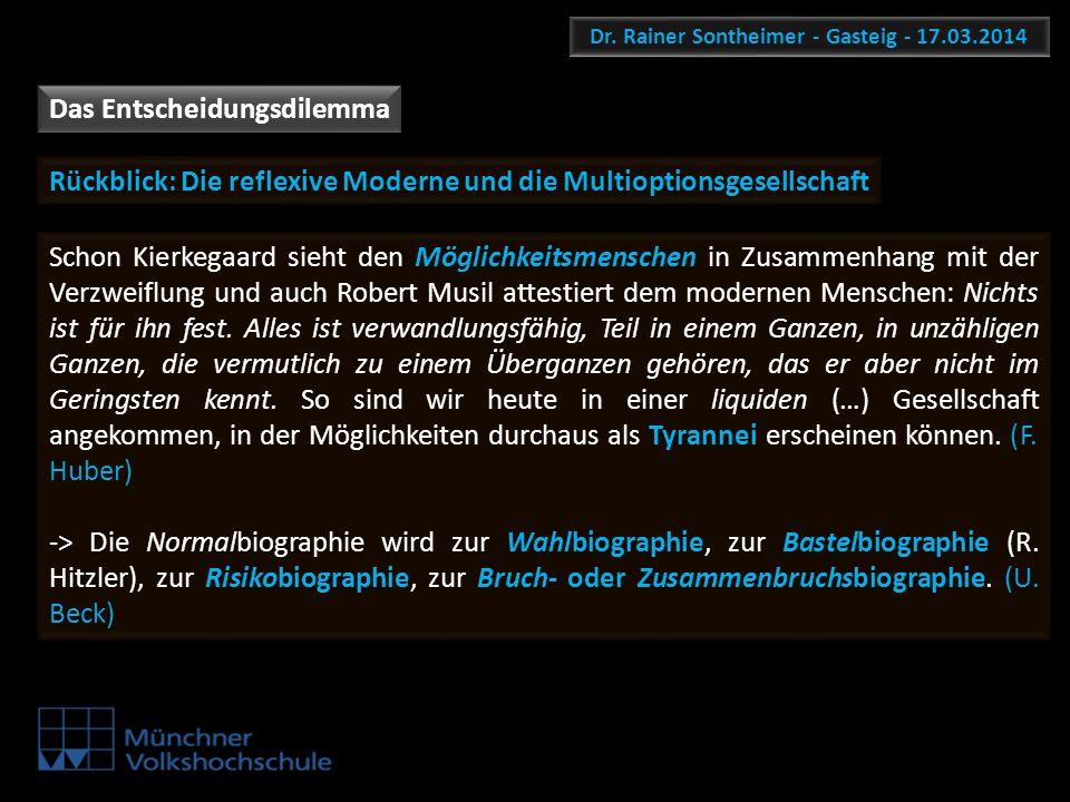 Dr. Rainer Sontheimer - Gasteig - 17.03.2014 Das Entscheidungsdilemma Schon Kierkegaard sieht den Möglichkeitsmenschen in Zusammenhang mit der Verzwei