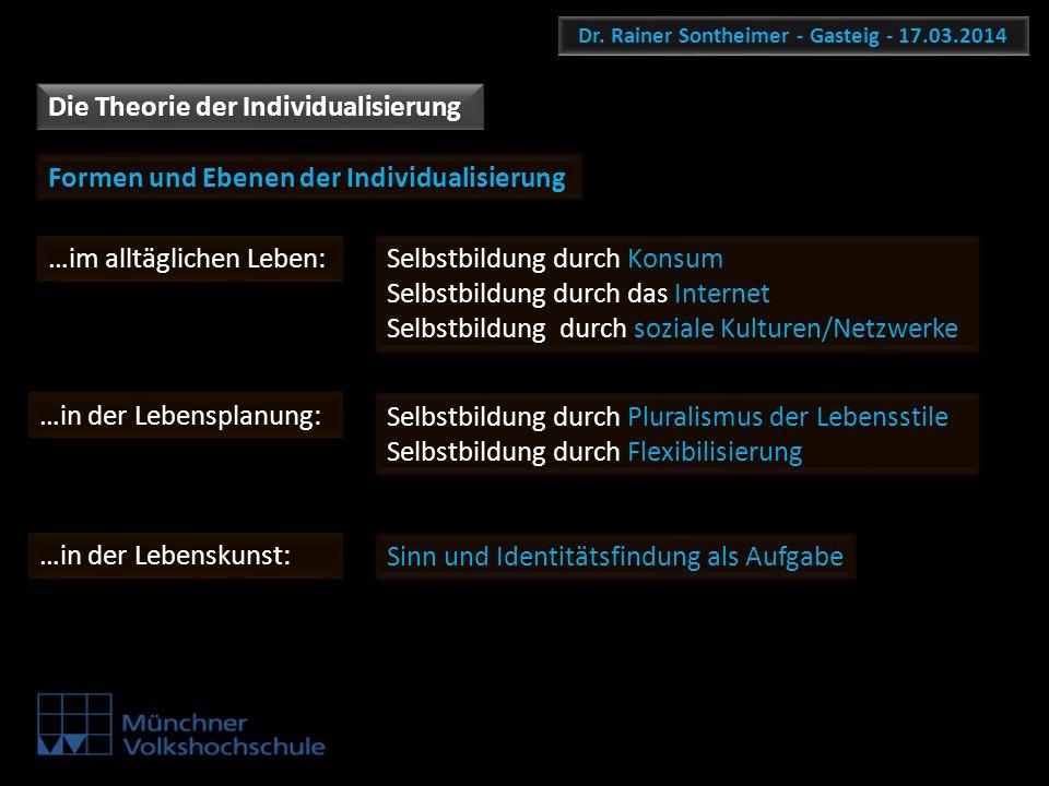 Dr. Rainer Sontheimer - Gasteig - 17.03.2014 Die Theorie der Individualisierung Selbstbildung durch Pluralismus der Lebensstile Selbstbildung durch Fl