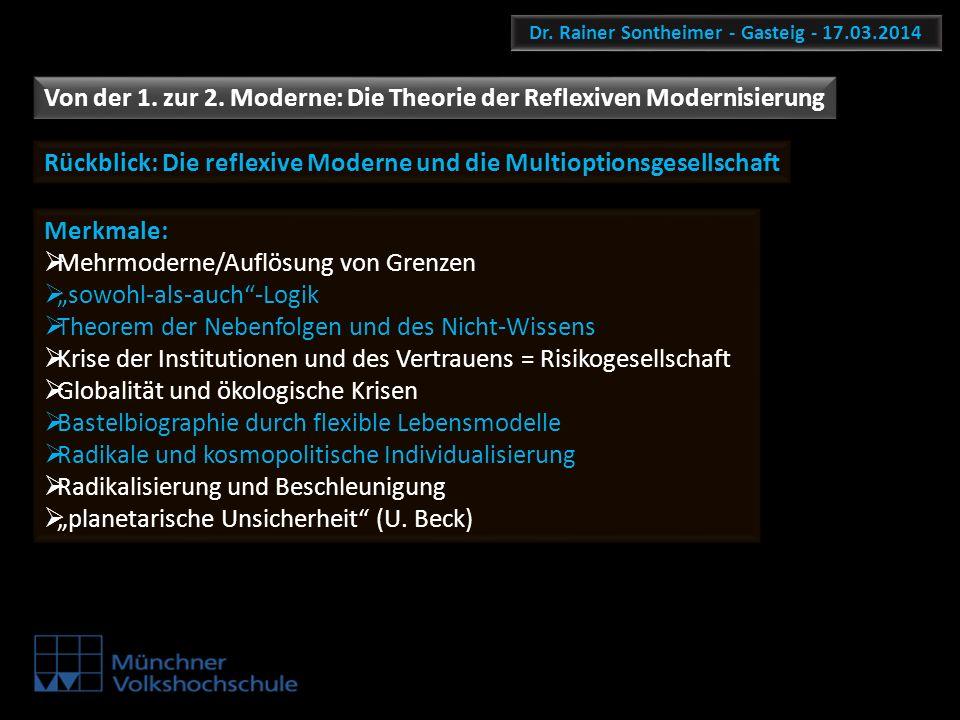 Dr. Rainer Sontheimer - Gasteig - 17.03.2014 Von der 1. zur 2. Moderne: Die Theorie der Reflexiven Modernisierung Merkmale: Mehrmoderne/Auflösung von