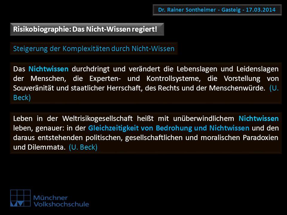 Dr. Rainer Sontheimer - Gasteig - 17.03.2014 Risikobiographie: Das Nicht-Wissen regiert! Steigerung der Komplexitäten durch Nicht-Wissen Das Nichtwiss