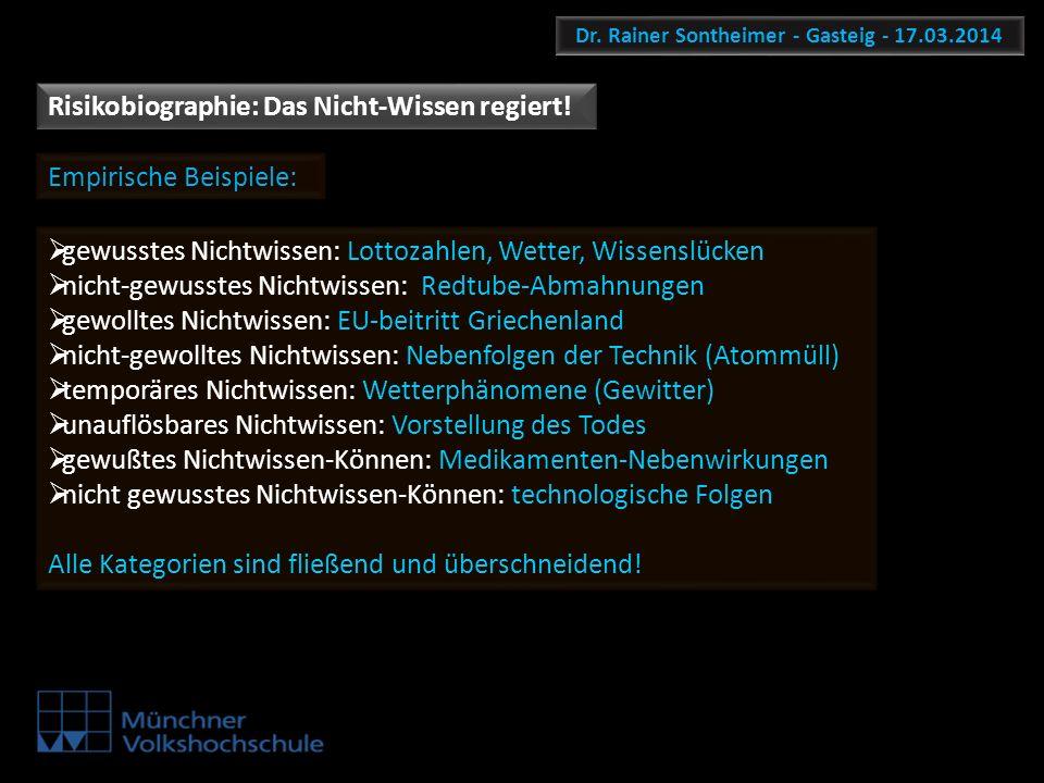 Dr. Rainer Sontheimer - Gasteig - 17.03.2014 Risikobiographie: Das Nicht-Wissen regiert! Empirische Beispiele: gewusstes Nichtwissen: Lottozahlen, Wet