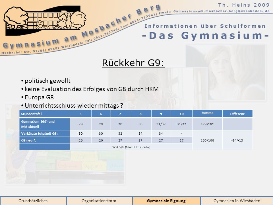 GrundsätzlichesOrganisationsformGymnasiale EignungGymnasien in Wiesbaden Rückkehr G9: politisch gewollt keine Evaluation des Erfolges von G8 durch HKM Europa G8 Unterrichtsschluss wieder mittags .