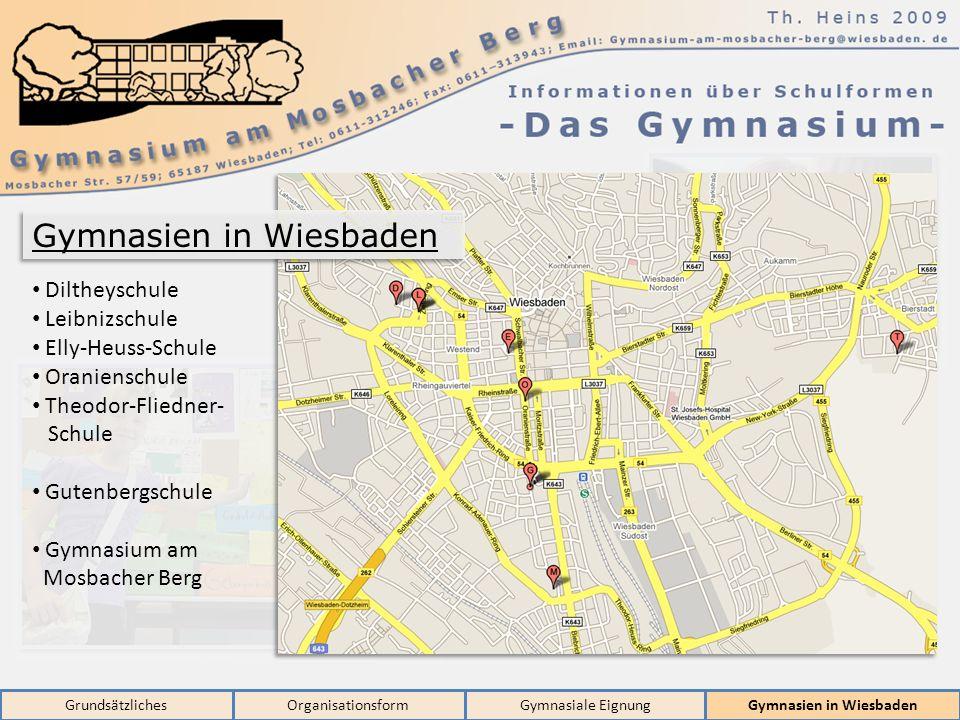 GrundsätzlichesOrganisationsformGymnasiale EignungGymnasien in Wiesbaden Diltheyschule Leibnizschule Elly-Heuss-Schule Oranienschule Theodor-Fliedner- Schule Gutenbergschule Gymnasium am Mosbacher Berg