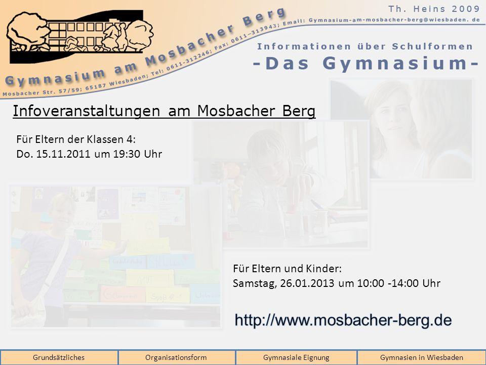 GrundsätzlichesOrganisationsformGymnasiale EignungGymnasien in Wiesbaden Für Eltern der Klassen 4: Do. 15.11.2011 um 19:30 Uhr Für Eltern und Kinder: