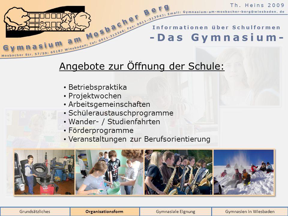 GrundsätzlichesOrganisationsformGymnasiale EignungGymnasien in Wiesbaden Angebote zur Öffnung der Schule: Betriebspraktika Projektwochen Arbeitsgemein