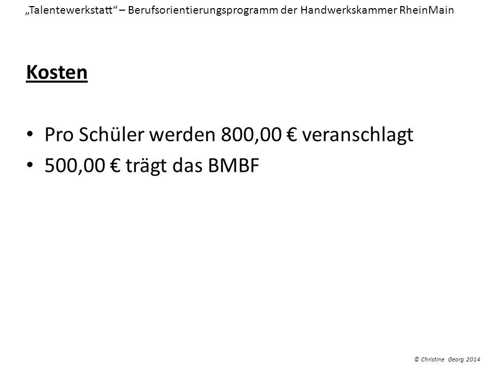 Kosten Pro Schüler werden 800,00 veranschlagt 500,00 trägt das BMBF Talentewerkstatt – Berufsorientierungsprogramm der Handwerkskammer RheinMain © Chr