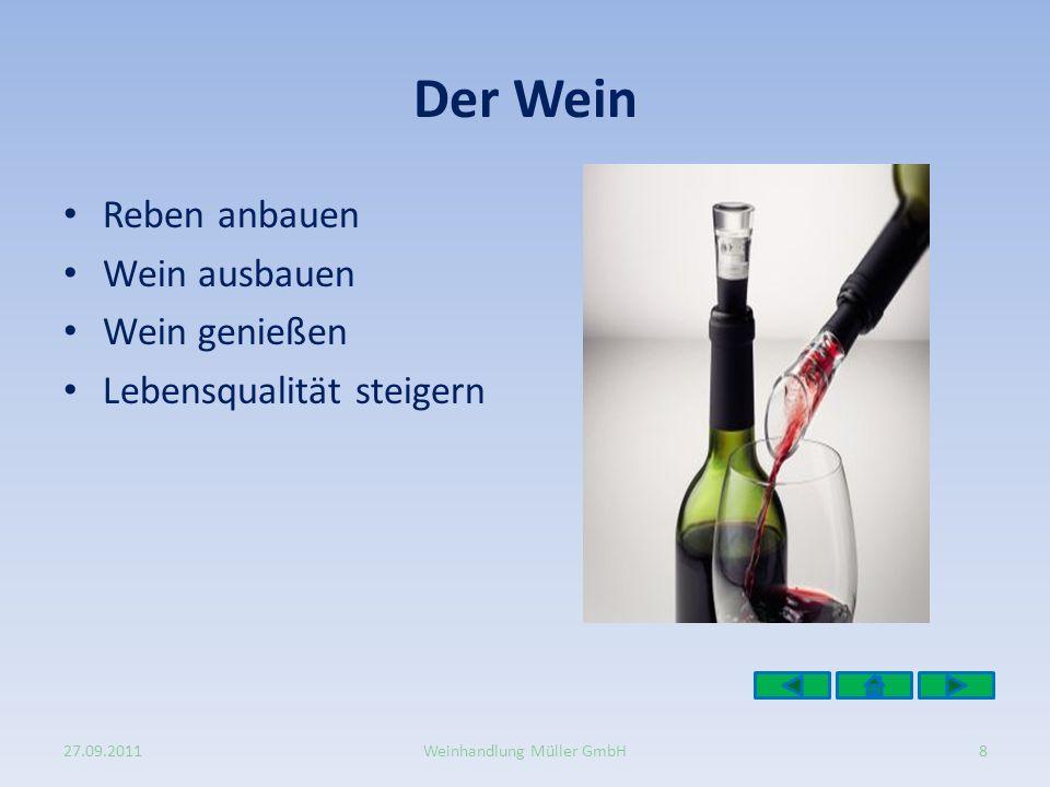 Der Wein Reben anbauen Wein ausbauen Wein genießen Lebensqualität steigern 27.09.20118Weinhandlung Müller GmbH