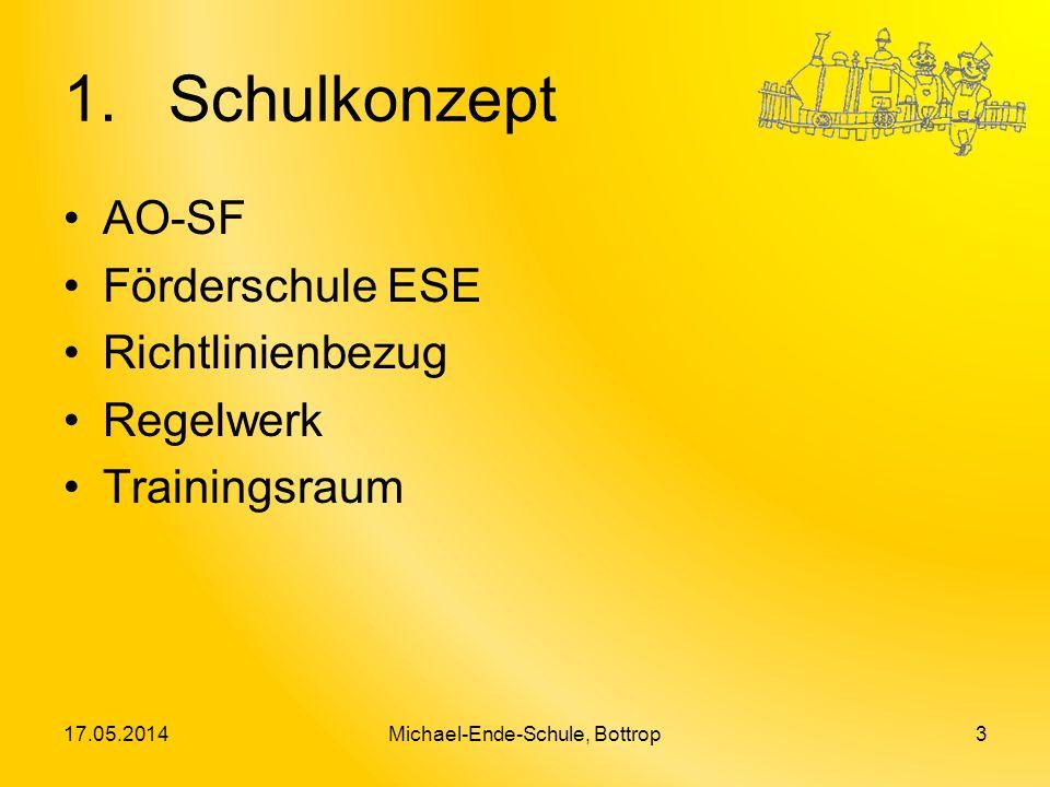 1. Schulkonzept AO-SF Förderschule ESE Richtlinienbezug Regelwerk Trainingsraum 17.05.2014Michael-Ende-Schule, Bottrop3