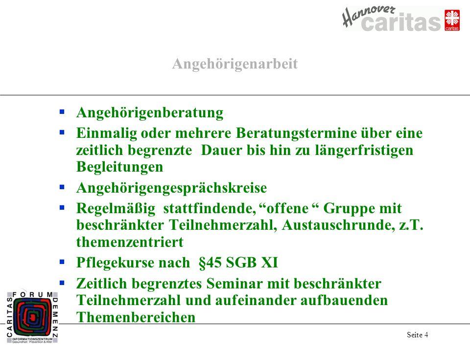 Seite 15 Das Versorgungsnetz spinnen ambulante Angebote stationäre Angebote Beratung Pflege / Hilfen Arzt Therapie Ehrenamt Betreuung