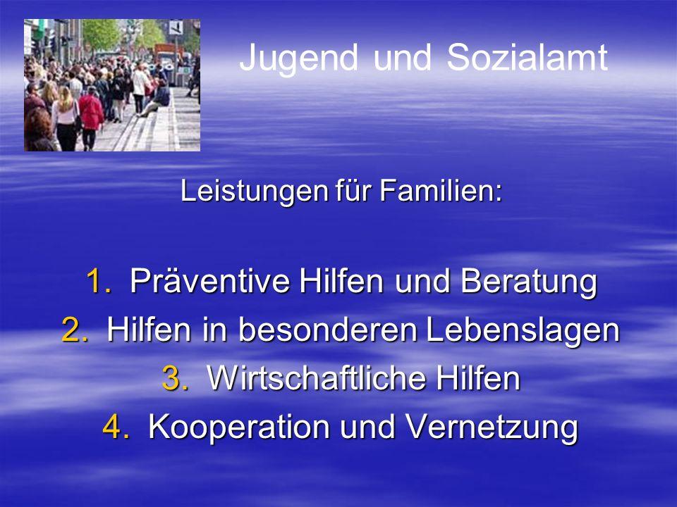Leistungen für Familien: 1.Präventive Hilfen und Beratung 2.Hilfen in besonderen Lebenslagen 3.Wirtschaftliche Hilfen 4.Kooperation und Vernetzung Jug