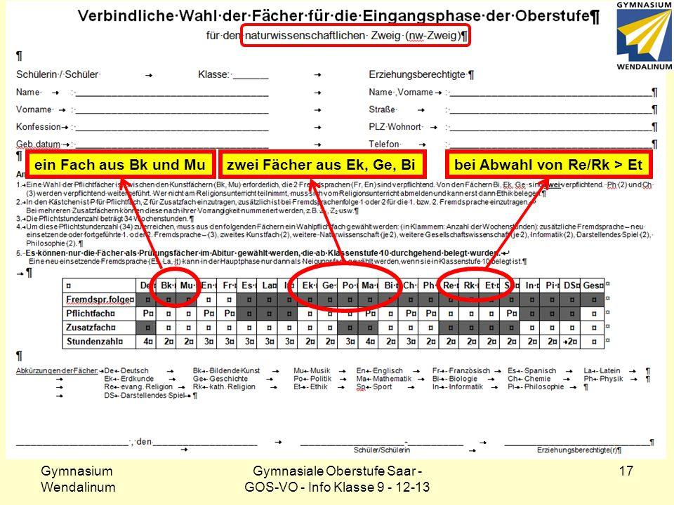 Klasse 9: Wahlformular – nw-Zweig Gymnasium Wendalinum Gymnasiale Oberstufe Saar - GOS-VO - Info Klasse 9 - 12-13 17 ein Fach aus Bk und Muzwei Fächer
