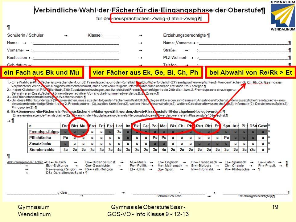 Klasse 9: Wahlformular – sprachl. Zweig Gymnasium Wendalinum Gymnasiale Oberstufe Saar - GOS-VO - Info Klasse 9 - 12-13 19 ein Fach aus Bk und Muvier