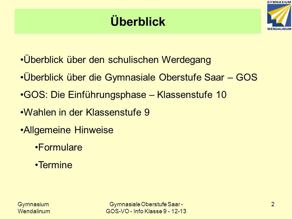 Gymnasium Wendalinum Gymnasiale Oberstufe Saar - GOS-VO - Info Klasse 9 - 12-13 2 Überblick Überblick über den schulischen Werdegang Überblick über di