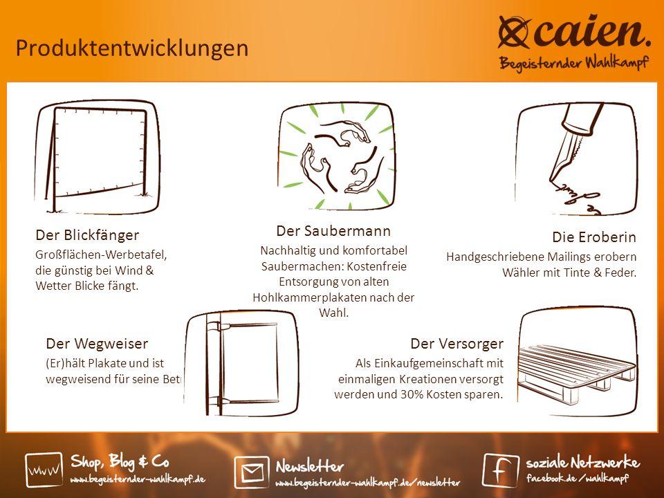 Produktentwicklungen Der Blickfänger Großflächen-Werbetafel, die günstig bei Wind & Wetter Blicke fängt.