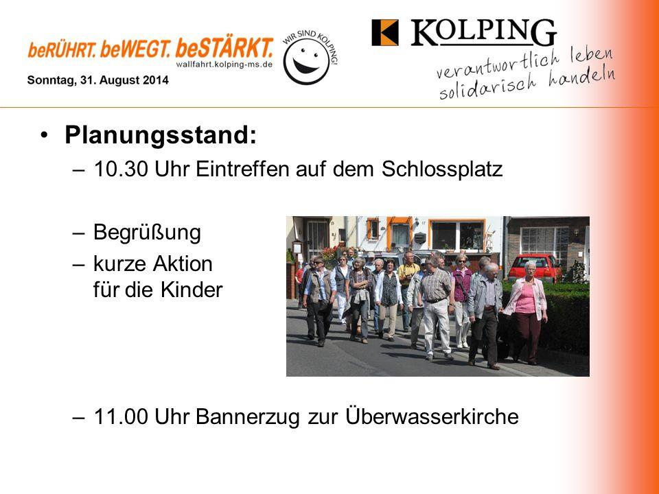 Planungsstand: –10.30 Uhr Eintreffen auf dem Schlossplatz –Begrüßung –kurze Aktion für die Kinder –11.00 Uhr Bannerzug zur Überwasserkirche