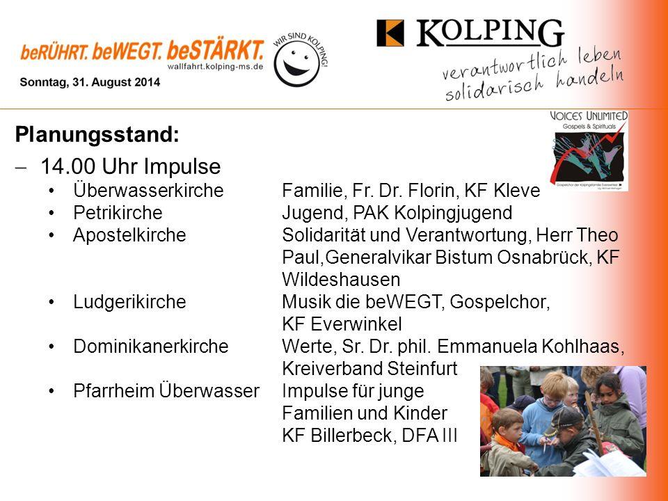 Planungsstand: 14.00 Uhr Impulse Überwasserkirche Familie, Fr.