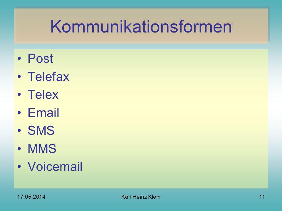 17.05.2014Karl Heinz Klein11 Kommunikationsformen Post Telefax Telex Email SMS MMS Voicemail