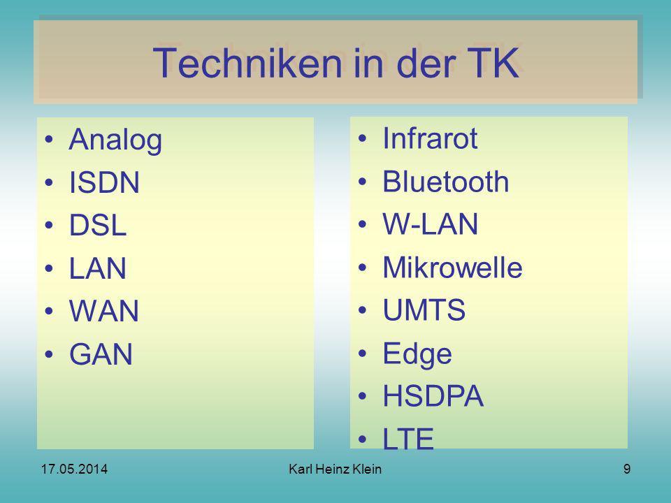 17.05.2014Karl Heinz Klein9 Techniken in der TK Analog ISDN DSL LAN WAN GAN Infrarot Bluetooth W-LAN Mikrowelle UMTS Edge HSDPA LTE