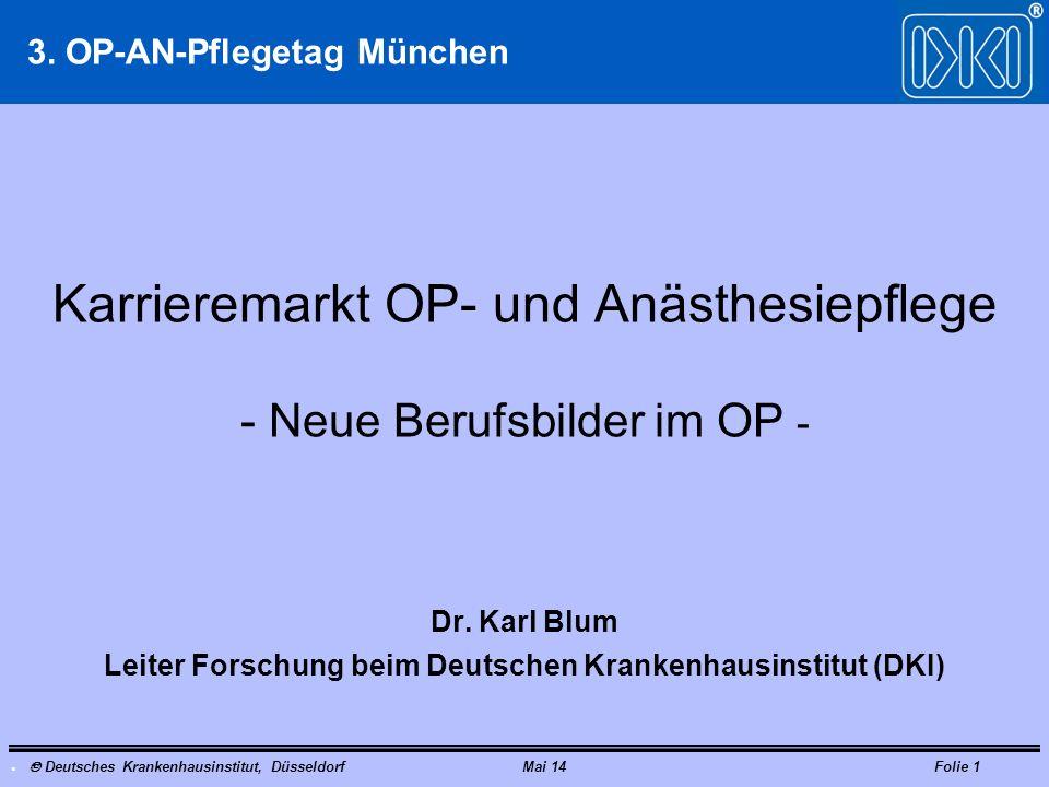 Deutsches Krankenhausinstitut, DüsseldorfMai 14Folie 1 Karrieremarkt OP- und Anästhesiepflege - Neue Berufsbilder im OP - Dr. Karl Blum Leiter Forschu