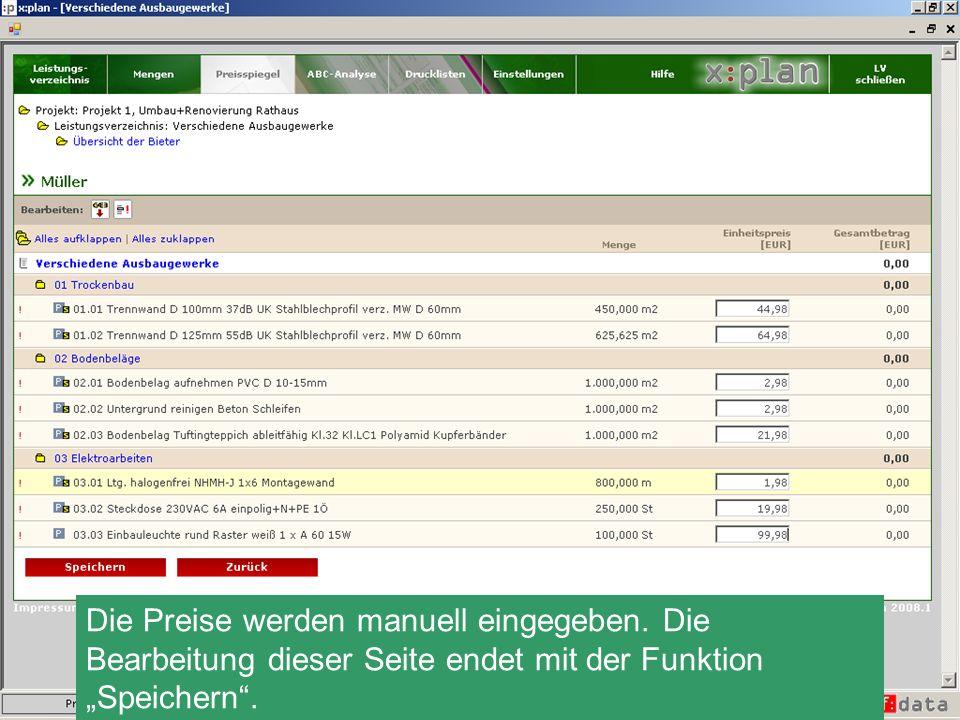 Alternativ zur manuellen Eingabe ist auch der Import von Angebotspreisen per GAEB-Datei möglich.
