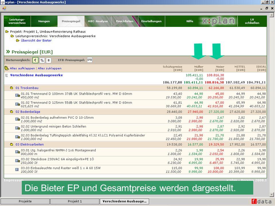 Die Bieter EP und Gesamtpreise werden dargestellt.