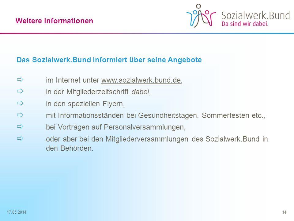 17.05.201414 Weitere Informationen Das Sozialwerk.Bund informiert über seine Angebote im Internet unter www.sozialwerk.bund.de, in der Mitgliederzeits