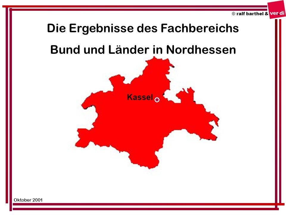 © ralf barthel & Oktober 2001 Die Ergebnisse des Fachbereichs Bund und Länder in Nordhessen Kassel