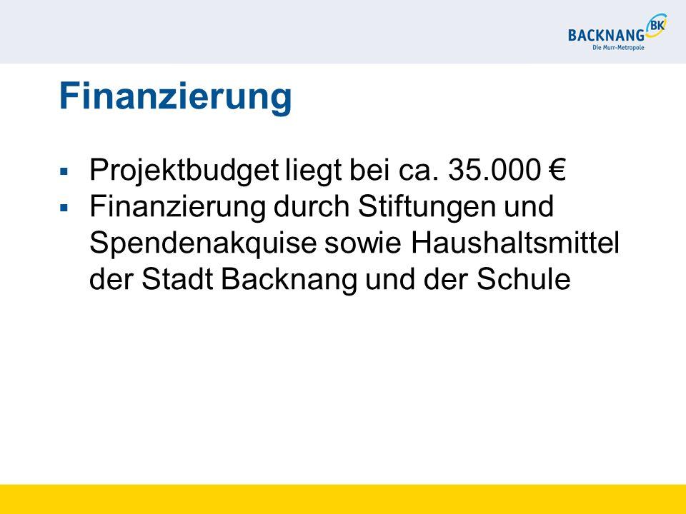 Finanzierung Projektbudget liegt bei ca. 35.000 Finanzierung durch Stiftungen und Spendenakquise sowie Haushaltsmittel der Stadt Backnang und der Schu