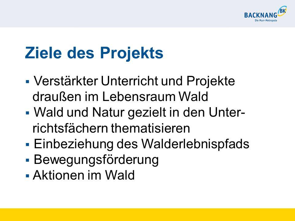 Ziele des Projekts Verstärkter Unterricht und Projekte draußen im Lebensraum Wald Wald und Natur gezielt in den Unter- richtsfächern thematisieren Ein
