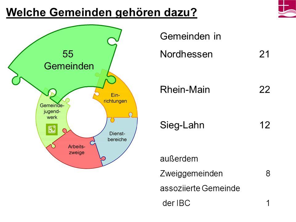 Welche Gemeinden gehören dazu? Gemeinden in Nordhessen 21 Rhein-Main 22 Sieg-Lahn 12 außerdem Zweiggemeinden 8 assoziierte Gemeinde der IBC1 55 Gemein