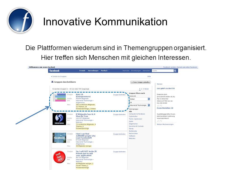 Innovative Kommunikation Die Plattformen wiederum sind in Themengruppen organisiert. Hier treffen sich Menschen mit gleichen Interessen.