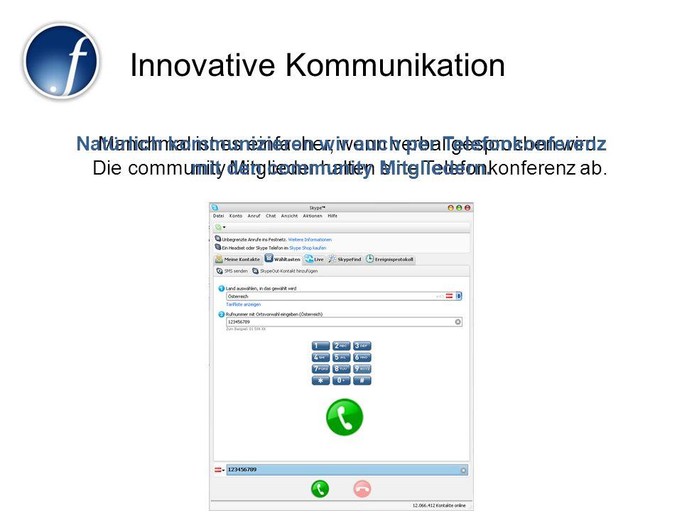 Innovative Kommunikation Manchmal ist es einfacher, wenn verbal gesprochen wird. Die community Mitglieder halten eine Telefonkonferenz ab. Natürlich k