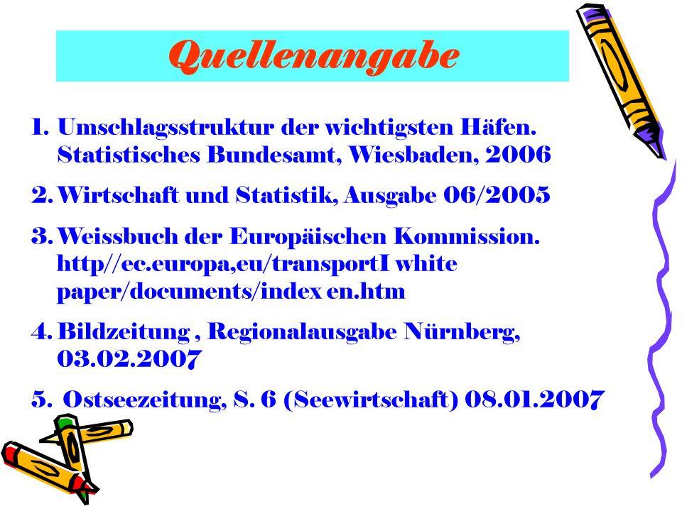Quellenangabe 1.Umschlagsstruktur der wichtigsten Häfen. Statistisches Bundesamt, Wiesbaden, 2006 2.Wirtschaft und Statistik, Ausgabe 06/2005 3.Weissb