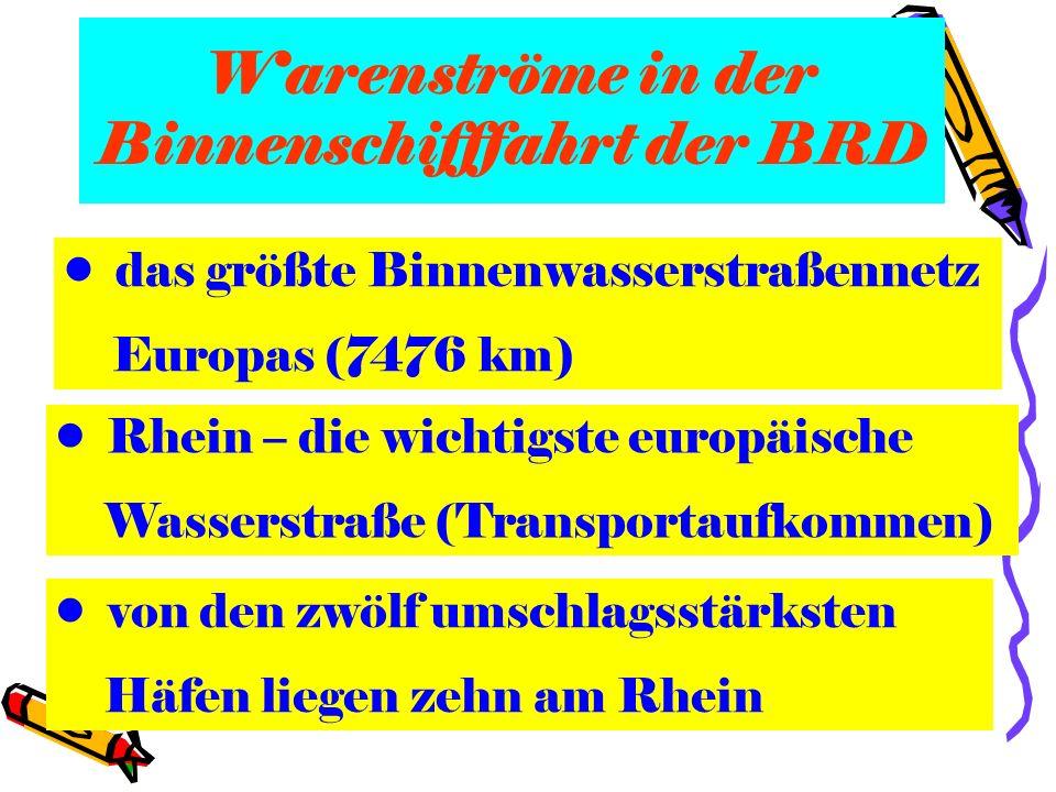 Warenströme in der Binnenschifffahrt der BRD das größte Binnenwasserstraßennetz Europas (7476 km) Rhein – die wichtigste europäische Wasserstraße (Tra