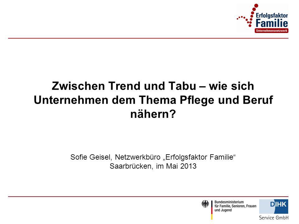 Zwischen Trend und Tabu – wie sich Unternehmen dem Thema Pflege und Beruf nähern? Sofie Geisel, Netzwerkbüro Erfolgsfaktor Familie Saarbrücken, im Mai