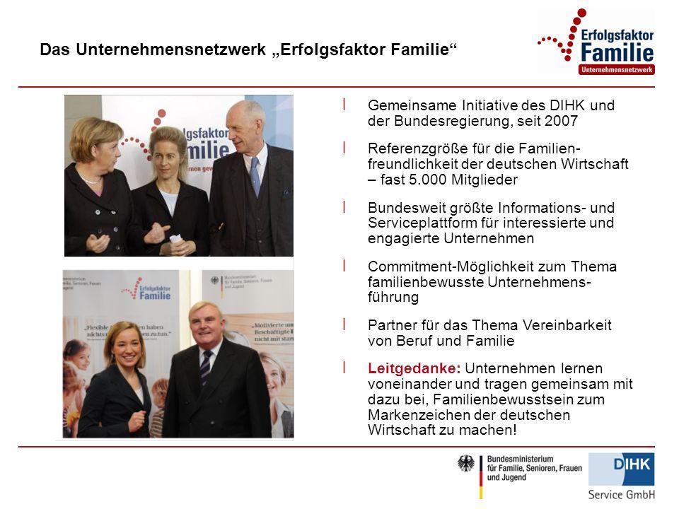 Das Unternehmensnetzwerk Erfolgsfaktor Familie ׀ Gemeinsame Initiative des DIHK und der Bundesregierung, seit 2007 ׀ Referenzgröße für die Familien- f
