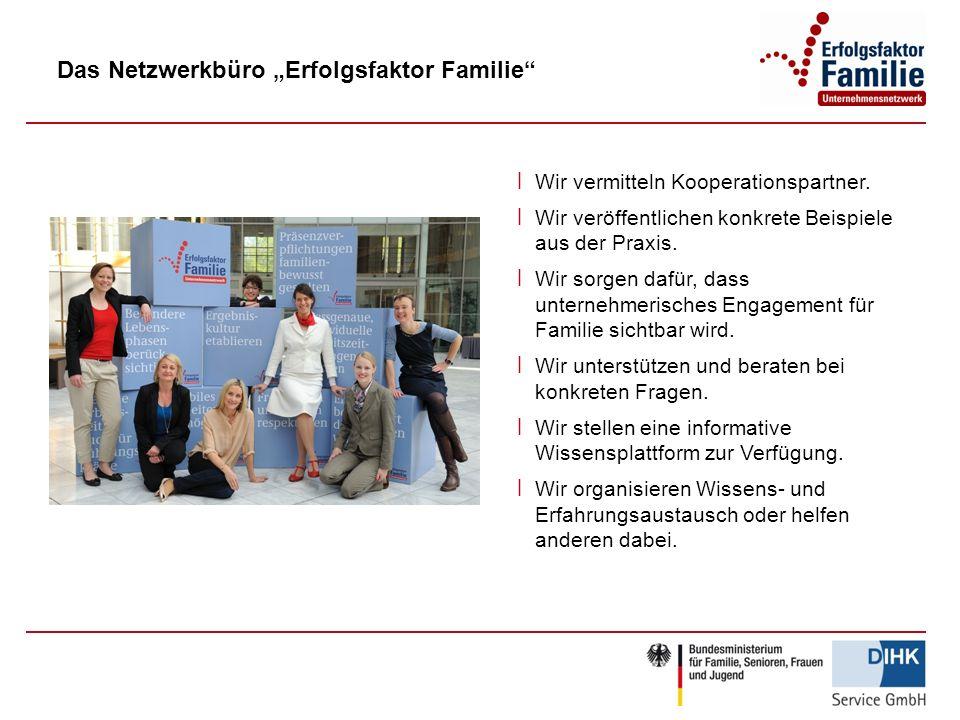 Das Netzwerkbüro Erfolgsfaktor Familie ׀ Wir vermitteln Kooperationspartner. ׀ Wir veröffentlichen konkrete Beispiele aus der Praxis. ׀ Wir sorgen daf