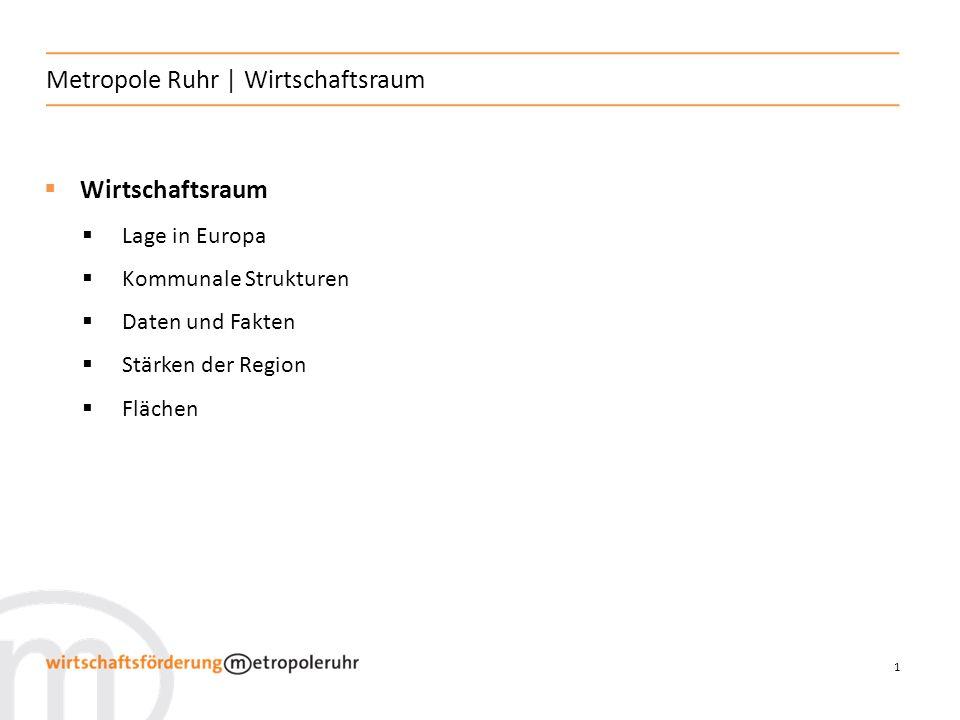 1 Metropole Ruhr | Wirtschaftsraum Wirtschaftsraum Lage in Europa Kommunale Strukturen Daten und Fakten Stärken der Region Flächen