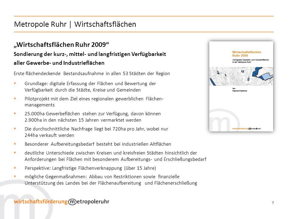 7 Metropole Ruhr | Wirtschaftsflächen Wirtschaftsflächen Ruhr 2009 Sondierung der kurz-, mittel- und langfristigen Verfügbarkeit aller Gewerbe- und In