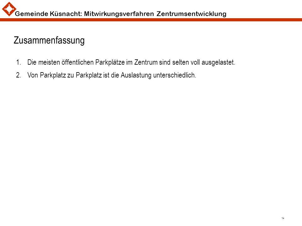 Gemeinde Küsnacht: Mitwirkungsverfahren Zentrumsentwicklung 14 Zusammenfassung 1.Die meisten öffentlichen Parkplätze im Zentrum sind selten voll ausge