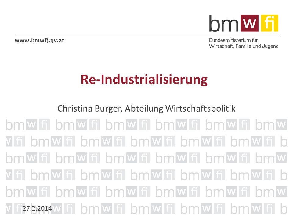www.bmwfj.gv.at Re-Industrialisierung Christina Burger, Abteilung Wirtschaftspolitik 27.2.2014