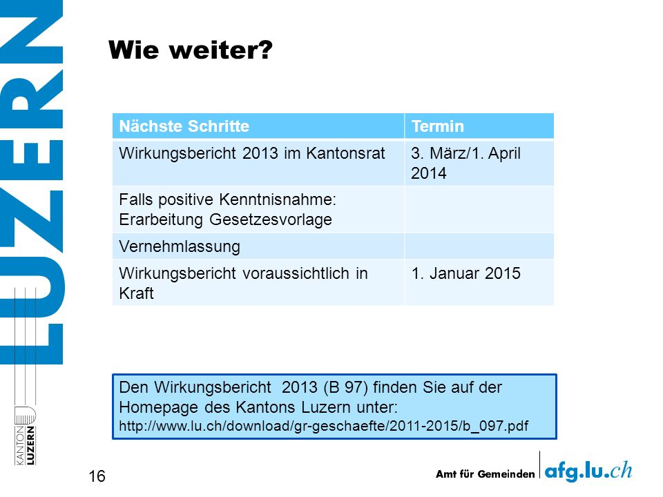 Wie weiter? 16 Nächste SchritteTermin Wirkungsbericht 2013 im Kantonsrat3. März/1. April 2014 Falls positive Kenntnisnahme: Erarbeitung Gesetzesvorlag