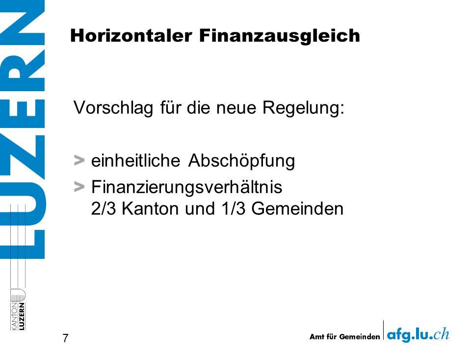 Horizontaler Finanzausgleich Vorschlag für die neue Regelung: > einheitliche Abschöpfung > Finanzierungsverhältnis 2/3 Kanton und 1/3 Gemeinden 7