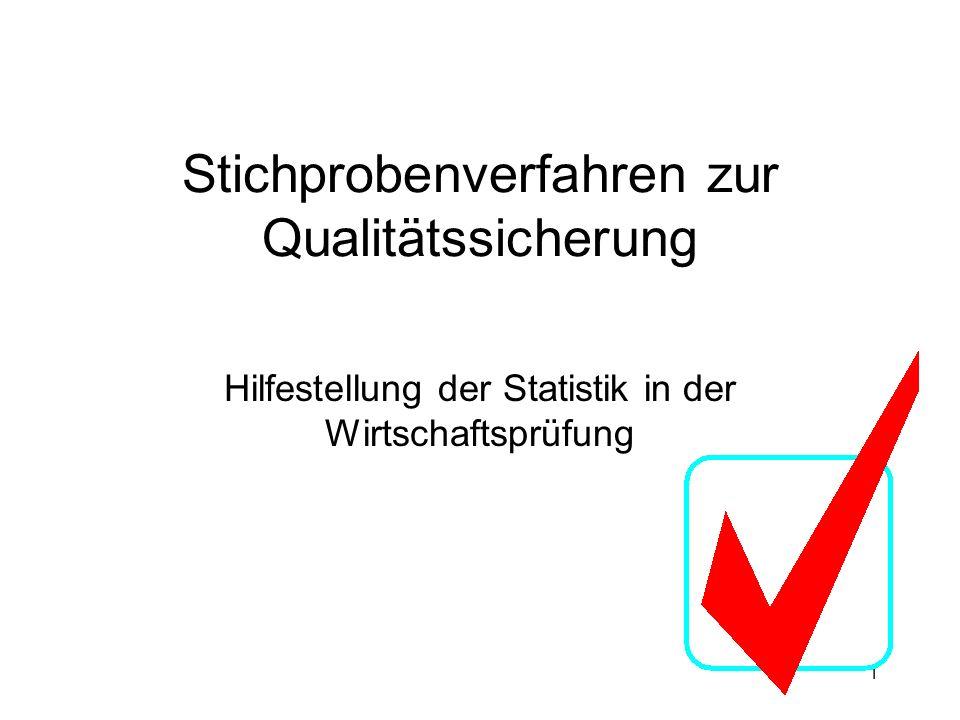 1 Stichprobenverfahren zur Qualitätssicherung Hilfestellung der Statistik in der Wirtschaftsprüfung