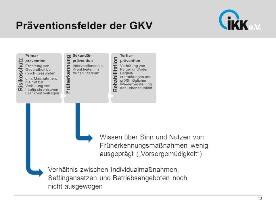Präventionsfelder der GKV 13 Verhältnis zwischen Individualmaßnahmen, Settingansätzen und Betriebsangeboten noch nicht ausgewogen Wissen über Sinn und