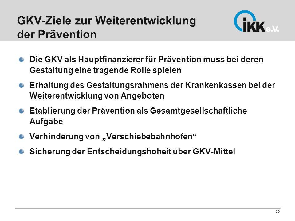 GKV-Ziele zur Weiterentwicklung der Prävention Die GKV als Hauptfinanzierer für Prävention muss bei deren Gestaltung eine tragende Rolle spielen Erhal