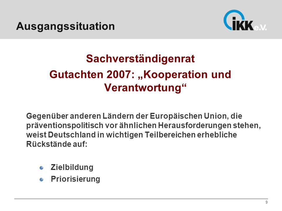 Ausgangssituation Sachverständigenrat Gutachten 2007: Kooperation und Verantwortung Gegenüber anderen Ländern der Europäischen Union, die präventionsp