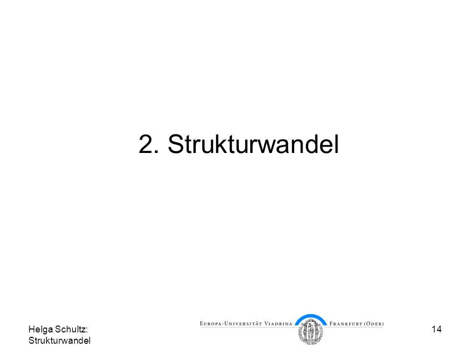 Helga Schultz: Strukturwandel 14 2. Strukturwandel