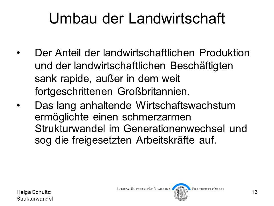 Helga Schultz: Strukturwandel 16 Umbau der Landwirtschaft Der Anteil der landwirtschaftlichen Produktion und der landwirtschaftlichen Beschäftigten sank rapide, außer in dem weit fortgeschrittenen Großbritannien.