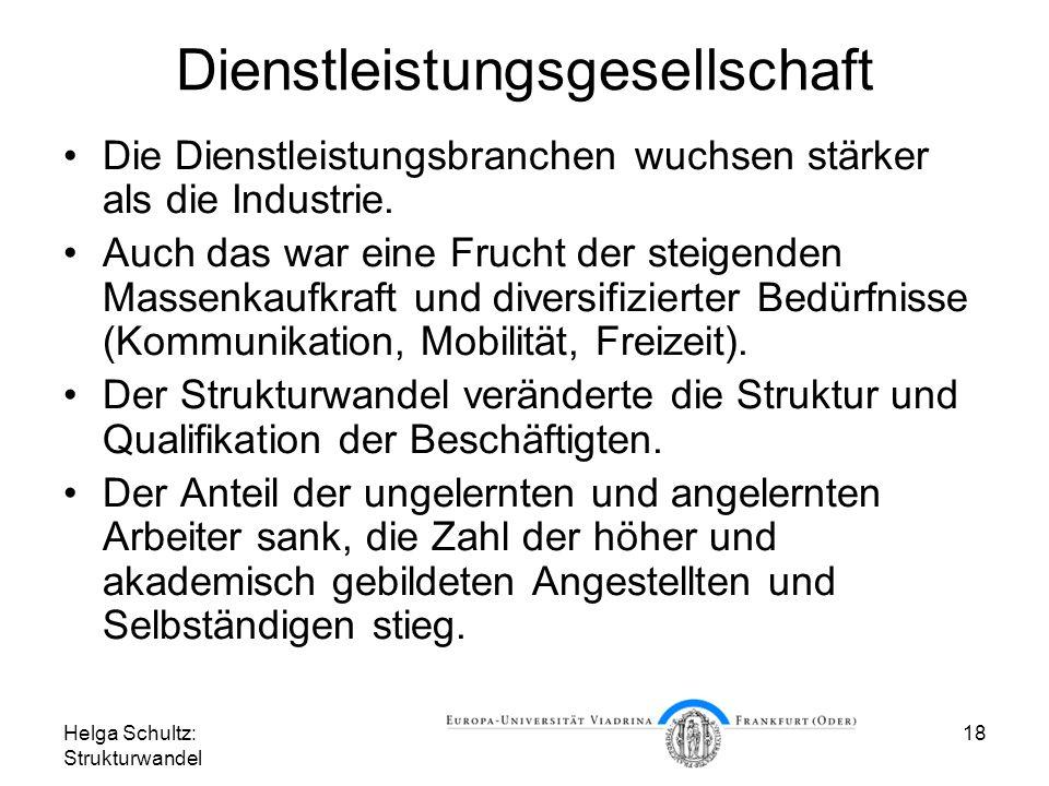 Helga Schultz: Strukturwandel 18 Dienstleistungsgesellschaft Die Dienstleistungsbranchen wuchsen stärker als die Industrie.